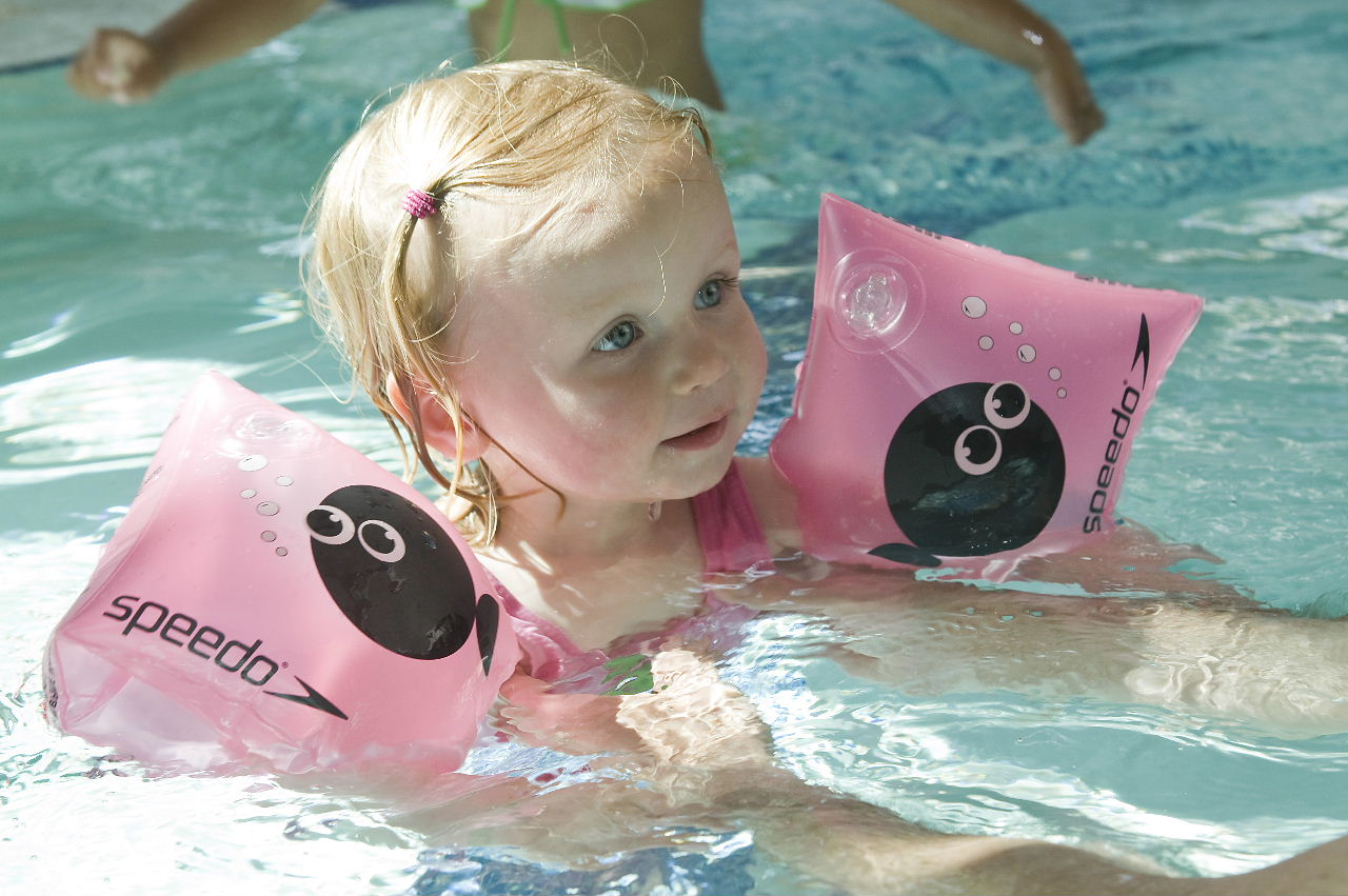 Child with armbands in Leisure Pool