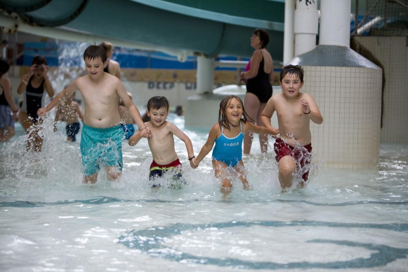 Children running in Leisure Pool